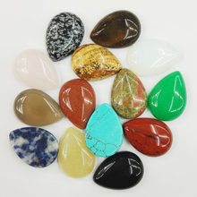 trendy Natural Stone Mixed beads cabochon 25x18MM Water drops for jewelry making Ring accessories 24Pcs/lot Free shipping
