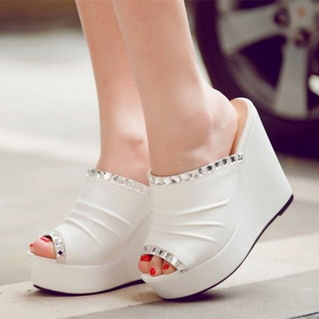 Women Leather Rhinestones Wedge Heels Mules Platform Flip Flops Sandals Slippers