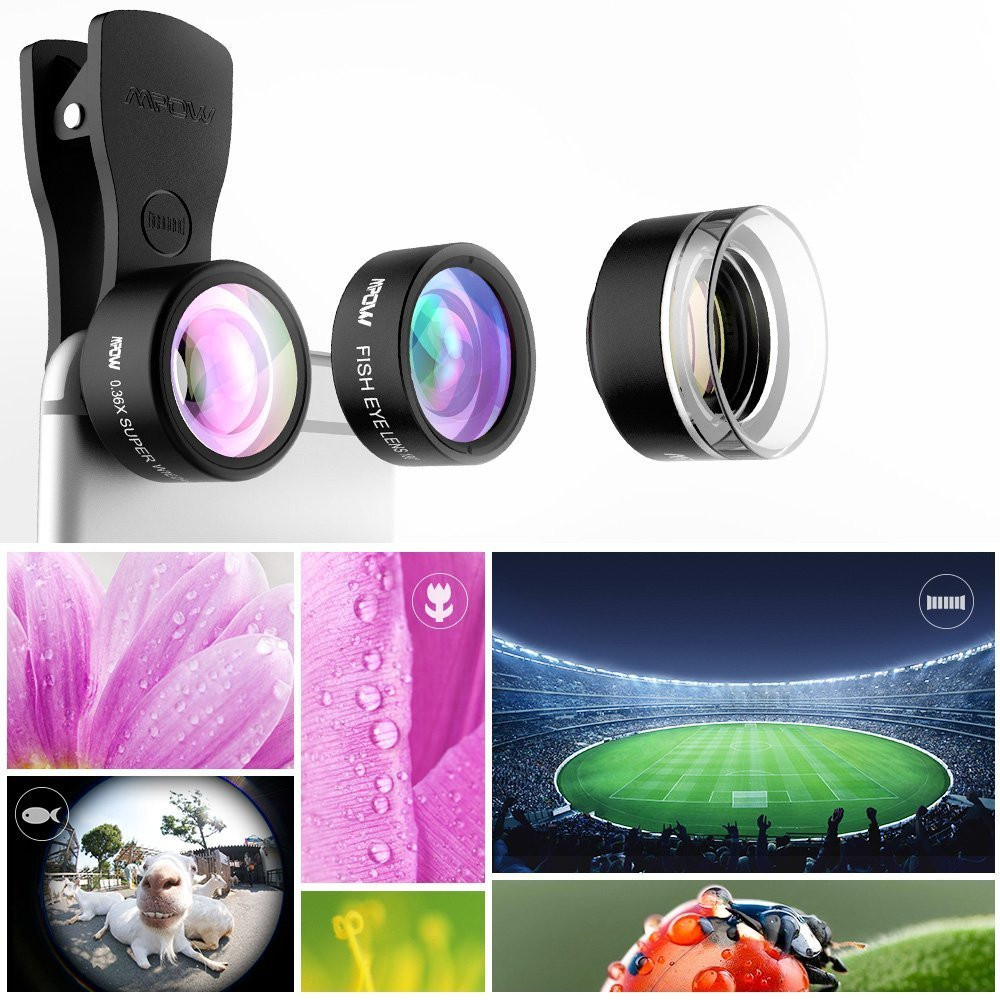 Original Mpow MFE4 Clip-On Phone Camera Lens Kits 180 Degree Fisheye Lens + 0.36X Wide Angle + X Macro Lens for Cellphones 7