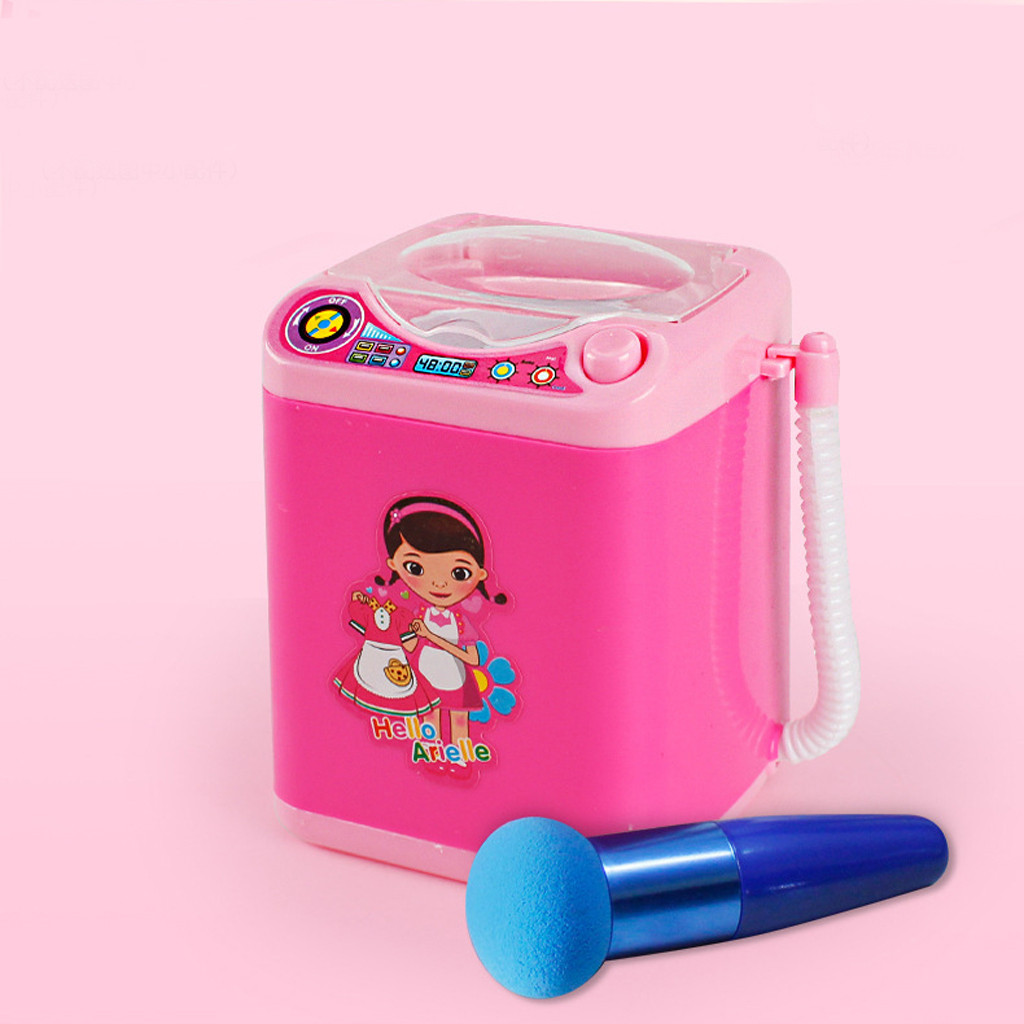 Kid Baby Pretend Play Multifunction Mini Makeup Brush Powder Puff Cleaning Automatic Washing Machine Education Simulation Toys