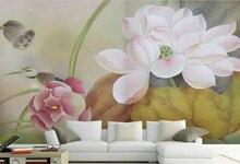 Benutzerdefinierte Chinesischen Stil Tapete, Lotus Blumen, 3D Retro  Wohnzimmer Schlafzimmer Sofa Hintergrund Wandbild Für PVC Ta.