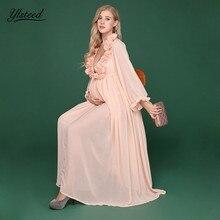 7528591796b07 Chiffon Maternity Dresses For Photo Shoot Light Pink V-neck Rose Flower  Ruffle pregnancy Dress