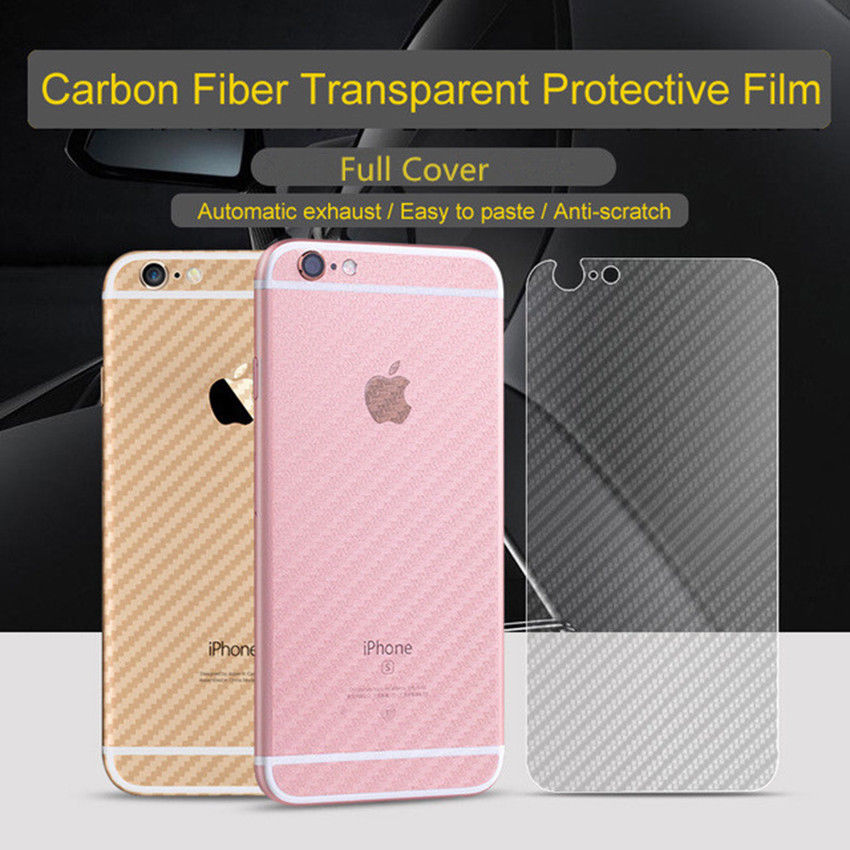 5pcs Anti-Scratches Full Coverage Protective Film Clear Carbon Fiber Back Screen Protector Film Sticker for iphone 7 7plus cover