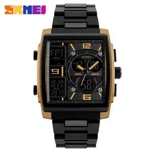 Image 4 - SKMEI montres de sport créatives hommes en acier inoxydable maille mode horloge mâle Top marque de luxe montre numérique Relogio Masculino 1274