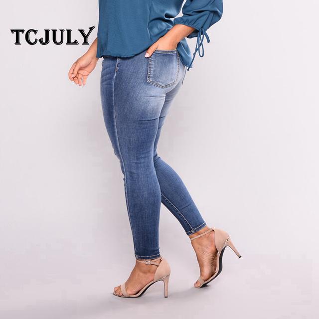 High Quality Women Vintage Plus Size 2Xl-7Xl Stretch Elegant Denim Jeans Skinny Push Up Pants