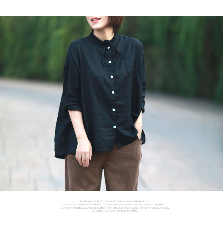 Nefeilike Women Casual Shirt 2018 Spring Summer New Cotton Linen Blouses Plus size Long Sleeve Ruffledr Top Women Button Shirts
