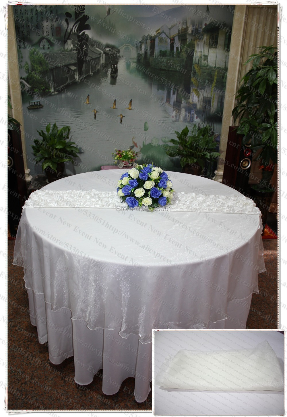 210cm Round NO.50 Ivory Color Organza Table Overlay/Table Cover/Tablecloth  For