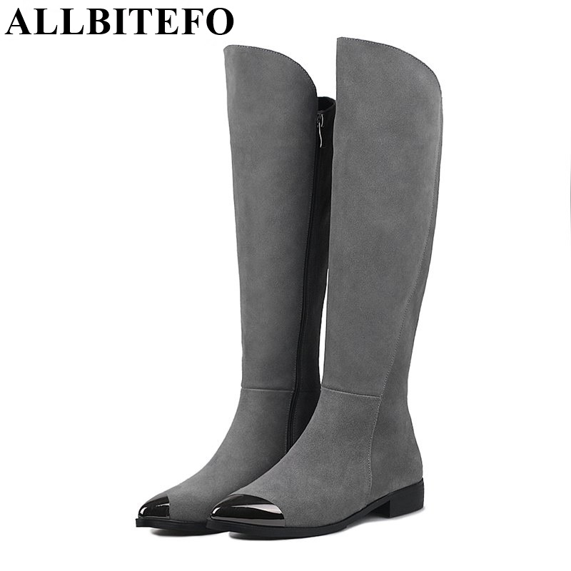 ALLBITEFO metal toe Genuine leather thick heel women boots fashion sexy low-heeled high quality winter snow boots mujer botas 2018 high quality handmade thick heel women shoes genuine leather women boots martins winter vintage ankle boots botas mujer