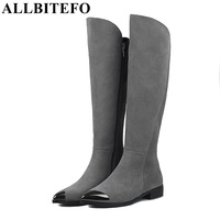 ALLBITEFO Metal Toe Genuine Leather Thick Heel Women Boots Fashion Sexy Low Heeled High Quality Winter
