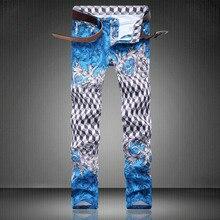 New Plaid Print Man Jeans Fashion Designer Paisley Print Blue Trousers D4194