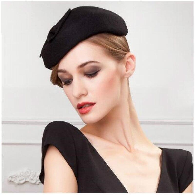 08e20e03e7f07 Dame hiver laine chapeau élégant noir fedora chapeaux pour les femmes laine  église pour dames vintage mariage chapeau B 1192 dans fedoras de Vêtements  ...
