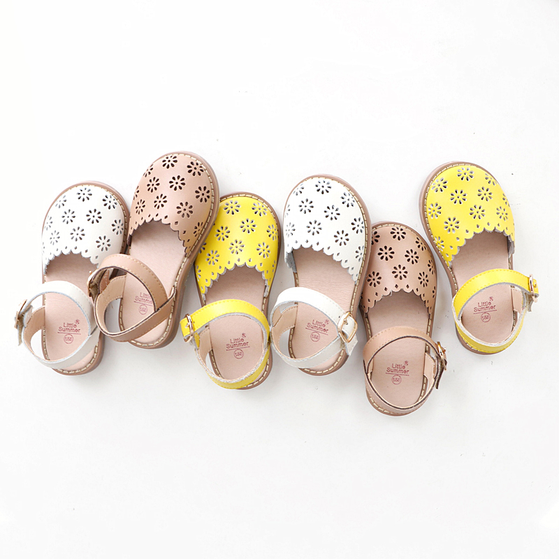 Summer Girls Sandals Cut-Outs Petal Kids Shoes Genuine Leather Princess Sandals High-grade Children Sandals