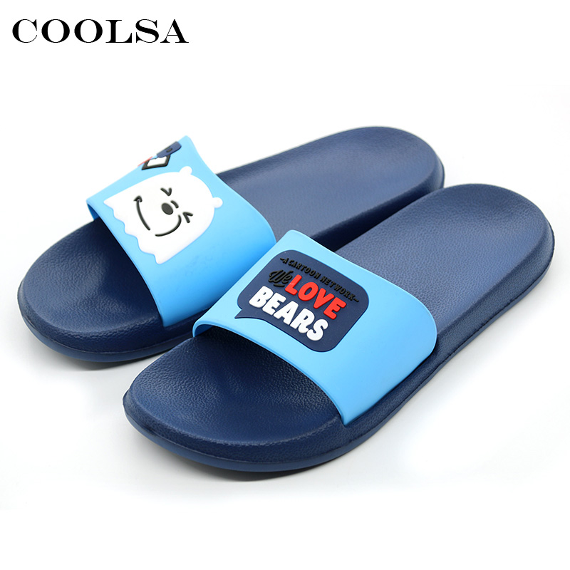 Coolsa Summer Men Indoor Slippers Cute Cartoon Candy Color EVA Flat Soft Non Slip Slides Home slippers Male Casual Beach Sandals coolsa men s non slip linen slippers zapatos hombre eva soles canvas cotton fabric vamp slippers men s slides fashion flip flops