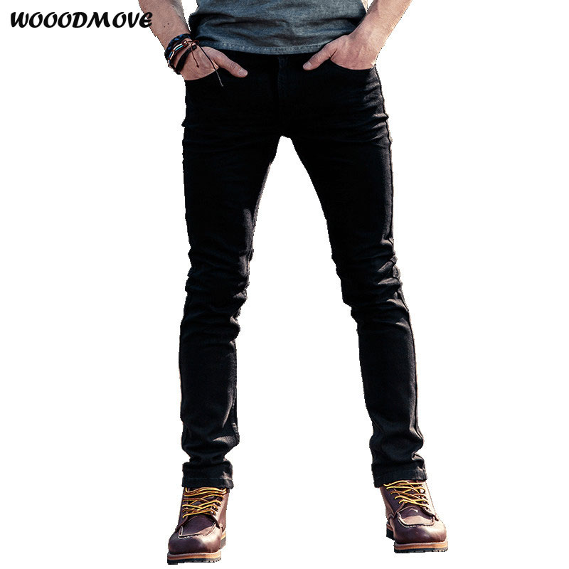 New high quality jeans men and European style brand men's jeans Black denim casual stretch stretch motorcycle pants jeans W60038 2017 tide brand off white winter new men s wear striped rose embroidery denim pants men jeans jogger pants high quality