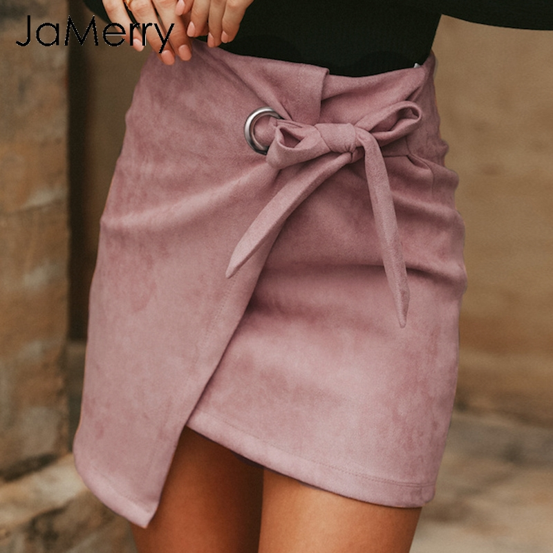 JaMerry Asymmetrical casual sash bow suede mini skirts women 2018 Autumn Winter skirts female High waist split sexy skirts
