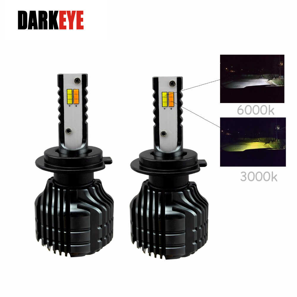 H7 LED H4 12V H11 9005 9006 Car Headlight Bulb Front Fog Lamp 2pcs 80W Dual Color In One Auto External Mini Head Lights
