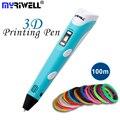 Myriwell 3D Ручка 1,75 мм ABS/PLA DIY 3D ручка для печати светодиодный экран 3D Ручка для рисования 100 м нити креативная игрушка подарок для детей дизайн