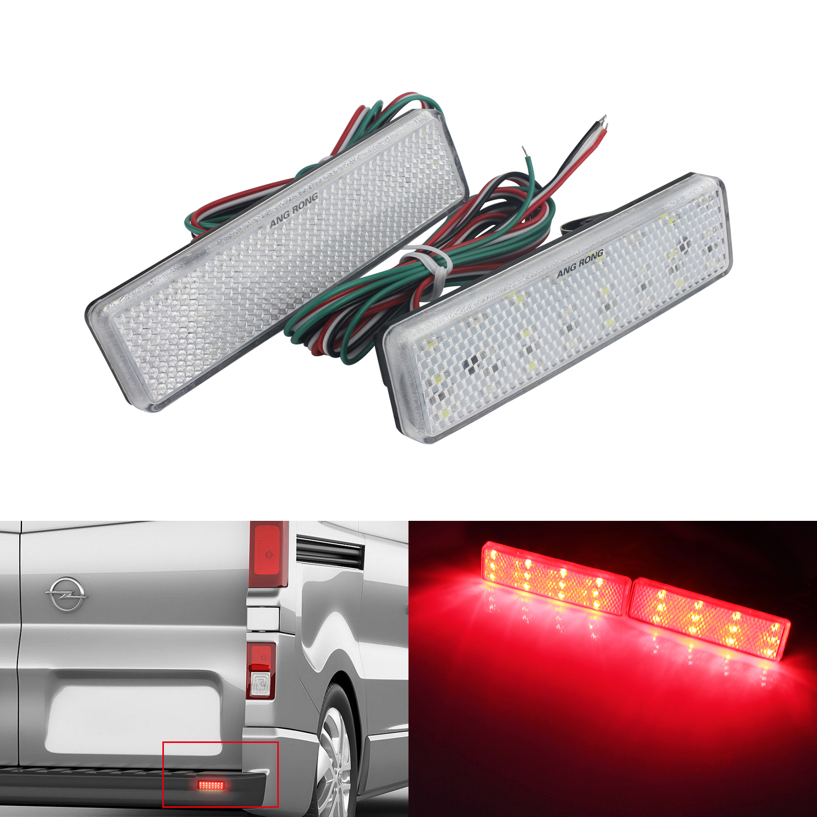 Angrong 2x Rear Bumper Reflector Led Brake Stop Light Black Lens For