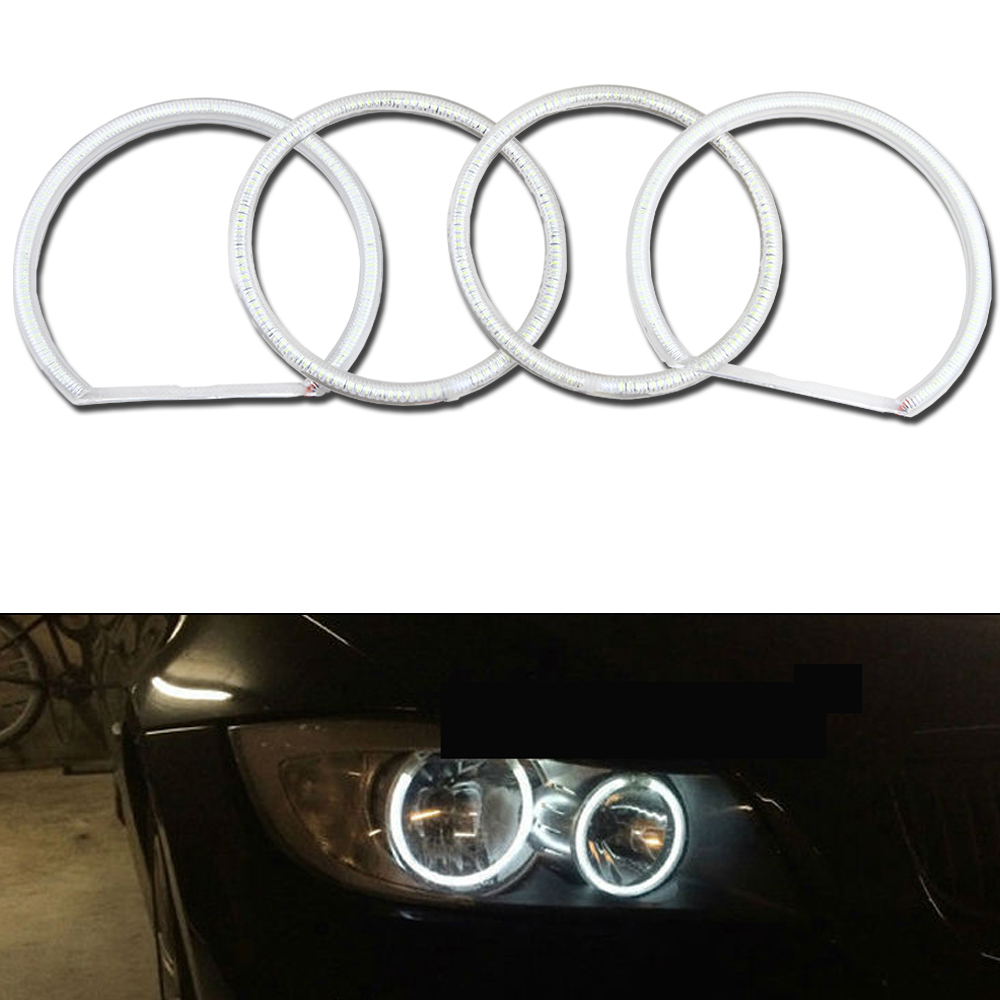 1 Set (4Pieces) Pure White Angel Eyes 2*131MM+2*105 Halo Rings Angel Eye 12V For E46 COMPACT HATCHBACK 2001-2005 Headlight