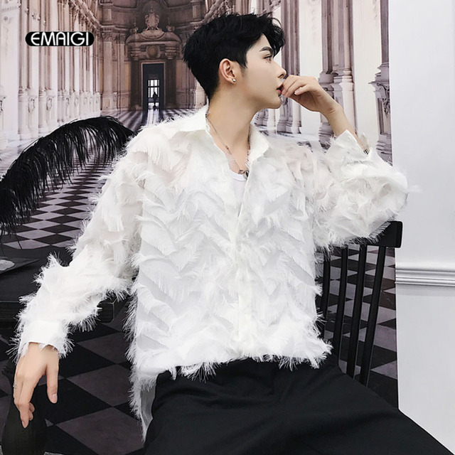 Men Women Couple Vintage Fashion Casual Long Sleeve Black White Shirts  Harajuku Male Loose Party Tuxedo Shirts Stage Clothes c56ba04e5ff3