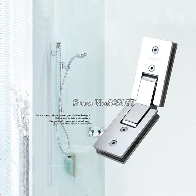 1 pz doccia rettangolo di specchio di 135 gradi cerniera di vetro in acciaio inox piazza bagno doccia cerniera clip HM17