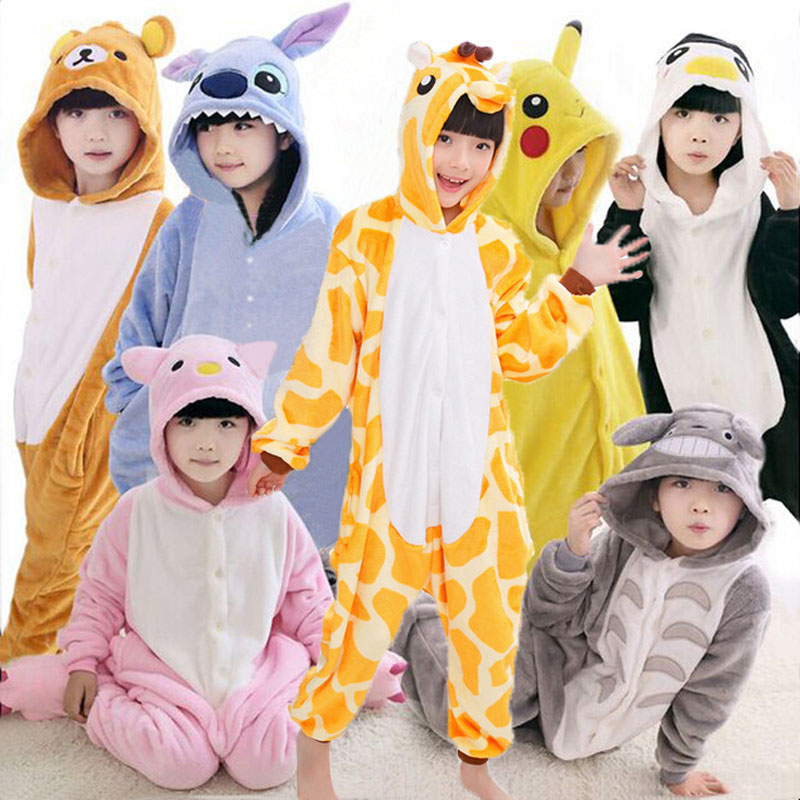 все цены на Kigurumi Onesie Kids Cosplay Animals Panda Pajamas Unicorn Bat Jumpsuit Children Winter Onesie For Boys Girls Flannel Pijama