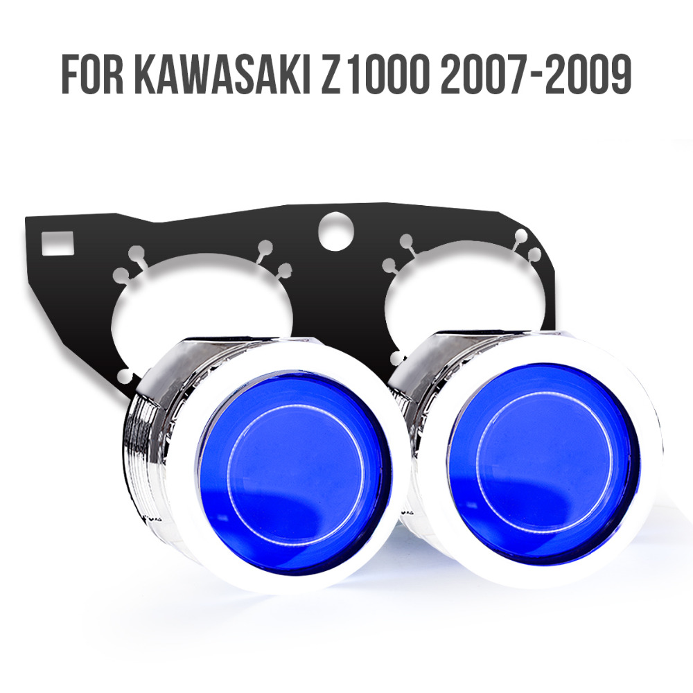 KT Headlight Suitable for Kawasaki Z1000 2007-2009 LED Angel Eyes Blue Demon Eyes Motorcycle HID Bi-xenon Projector Lens 2008