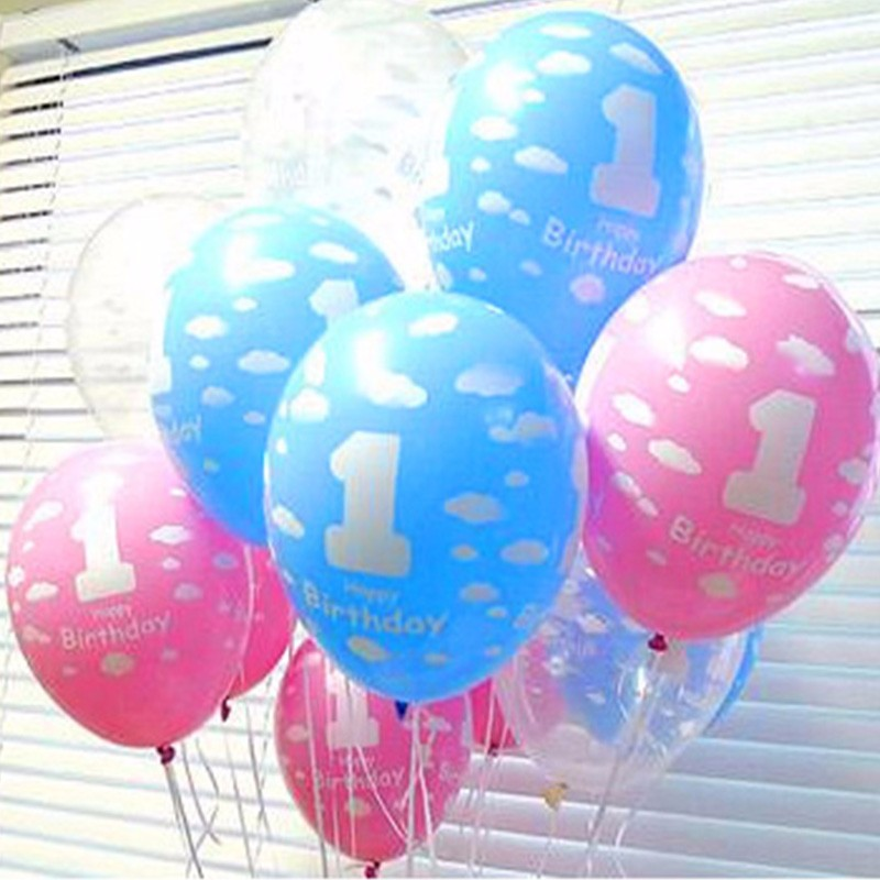 20pcs/Lot 12 Inch 1 Birthday Balloon Pink Latex Balloons Mickey Mouse Happy Birt