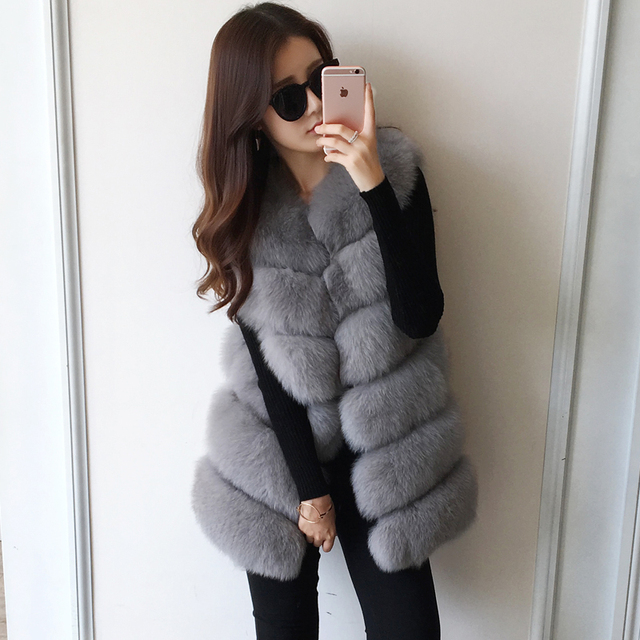 Real Natural Fur Vest For Women basic coats Genuine Blue Fox Fur Leather Jacket Overcoat Girl's Fox Fur Vest Coat Fur GiletS-7XL