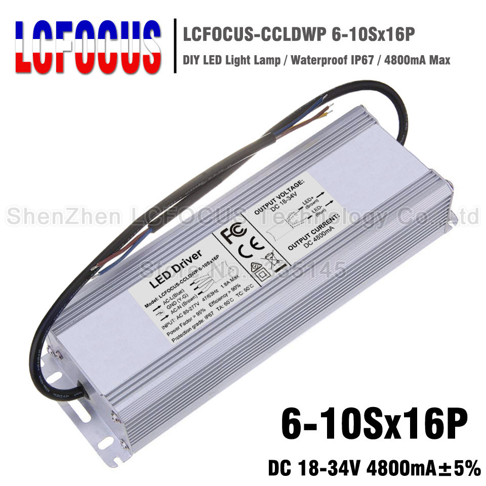 160W LED Driver 6-10Sx16P Waterproof 4800mA 18-34V For 96 128 144 160 W <font><b>Watt</b></font> COB LED Chip Lighting Transformers <font><b>Power</b></font> <font><b>Supply</b></font> image