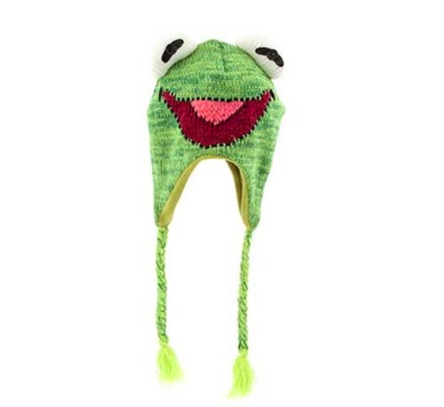 The Muppets Kermit the Frog Laplander Beanie Knit Hat With Tassels  Reversible Specialty Knitting Knitted Wool Cap 82cd6784019