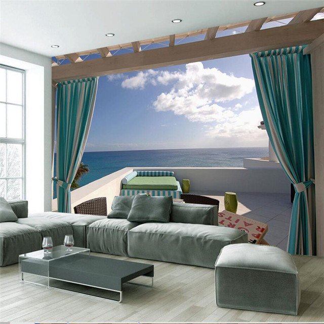 Modern Wallpaper Home Decor Custom Background Photo Curtain Sea Extension Art Wall Covering Tv Sofa