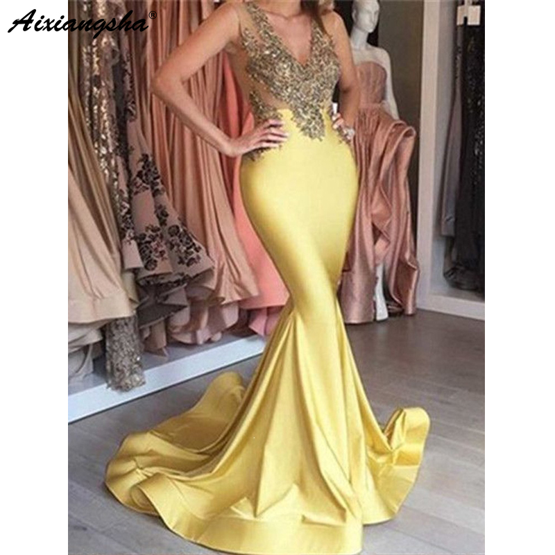 Yellow 2018 Prom Dresses Mermaid V-neck Appliques Lace Beaded Long Prom Gown Formal Elegant Evening Dresses with Beading