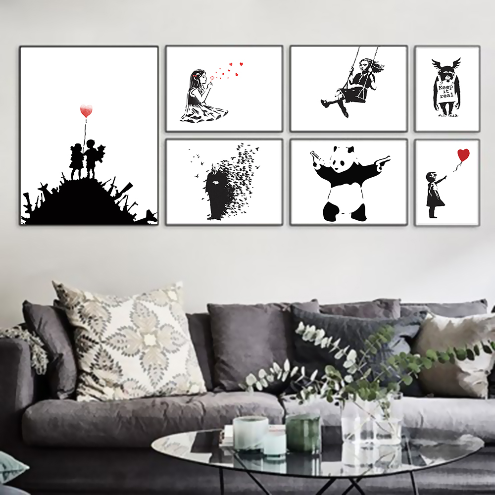 Banksy black white modern abstract pop hipster art print for Living room ideas hipster