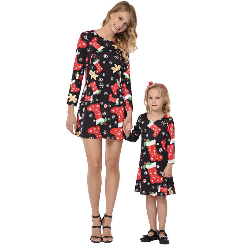 Christmas Mommy And Me Family Matching Mother Daughter Dresses Clothes Print Mom And Daughter Dress Kids Sister Child Outfits
