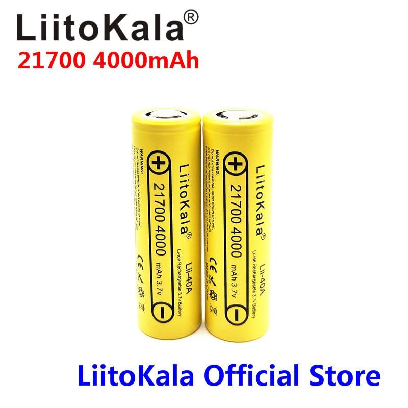 2PCS LiitoKala 21700 battery Lii-40A Original 21700 4000mAh 40A Rechargeable E Cigarette Battery fits CAPO 2pcs 2017 original liitokala protected 100% original ncr18650b 18650 3400mah rechargeable battery with 3 7v pcb for panasonic