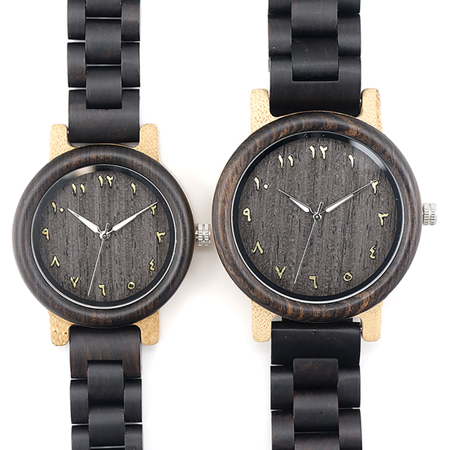 BOBO BIRD L-N14 Couple Wooden Watches 100% Natural Wood Watches Men Women Clock Christmas Gift in Case 3