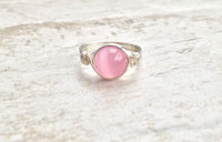 Silver Wire Wrapped Pink Cats Eye Ring Handmade Sterling Silve Filled Ring Vintage Unique Designs Gift