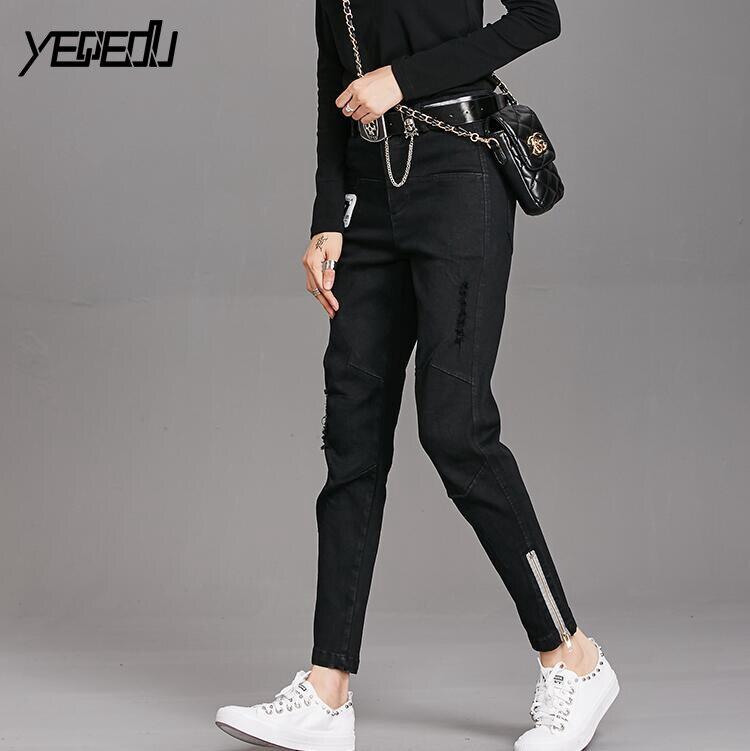 #1332 Bottom zipper Black jeans women Black Ripped jeans for women Fashion Stretch denim Distressed Punk jeans femme Spring 2018