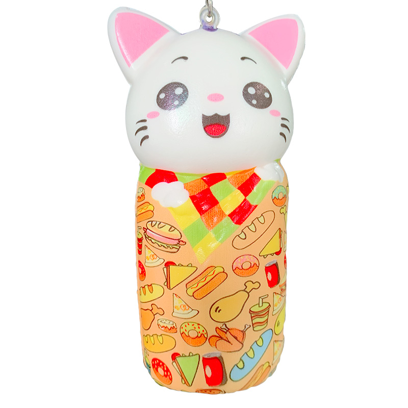 Kawaii Colorful Cat Squishy Slow Rising Phone Straps Kitty Doll Squeeze Toy Soft Stress Relief Fun Xmas Gift Toy For Children