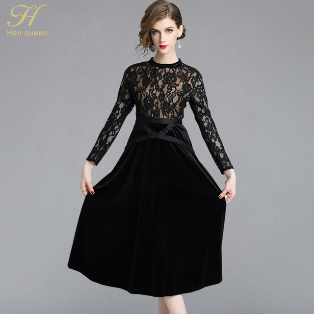 b38508b49e3c4 H Han Queen Women New 2018 Autumn Black Lace Dress High-End Ladies O-Neck  stitching Runway Vintage Female Slim Party Dresses
