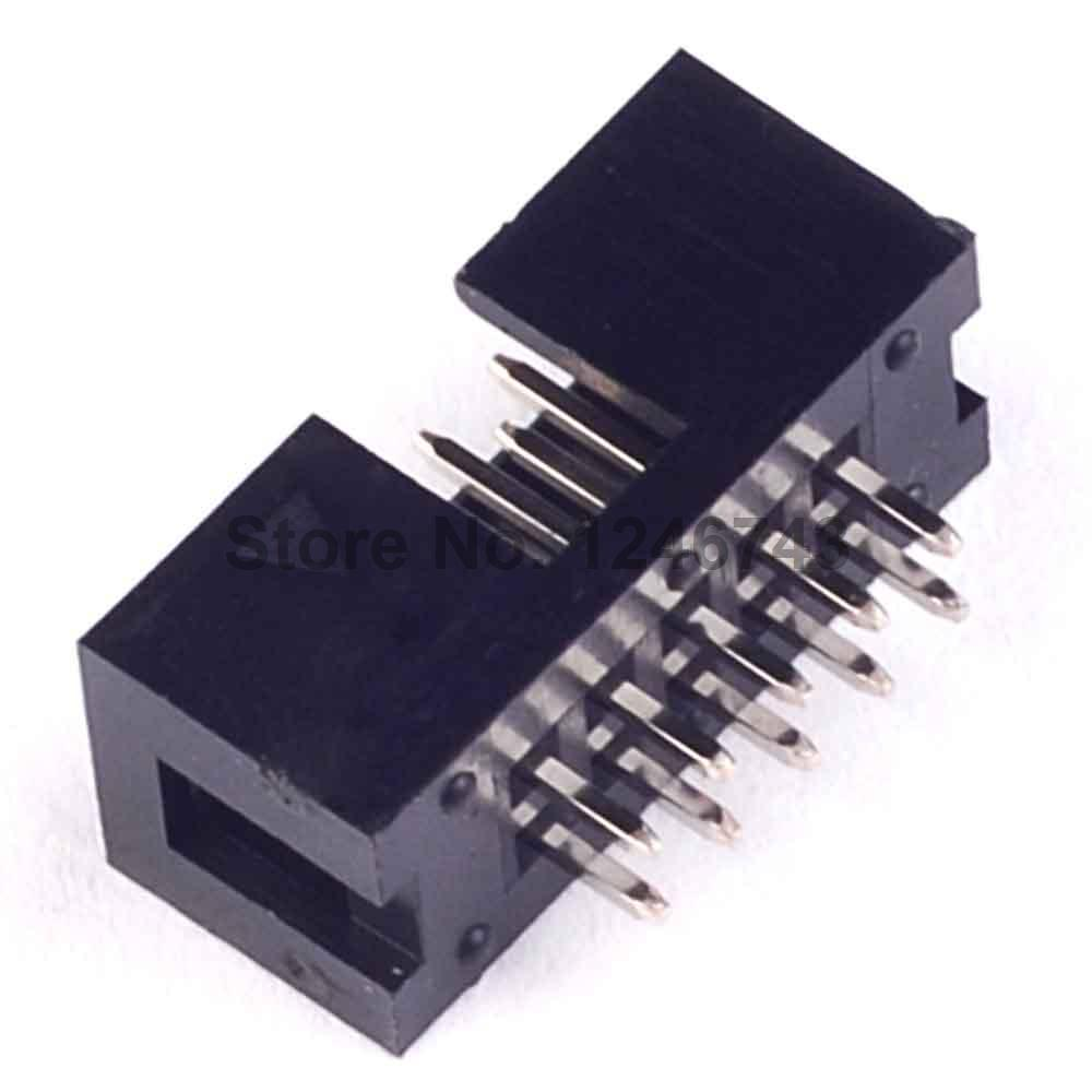 50PCS DC3 10 Pin Shrouded Male Header Connector 2.54mm new original 10pcs 1x40 pin 2 54 round male pin header connector