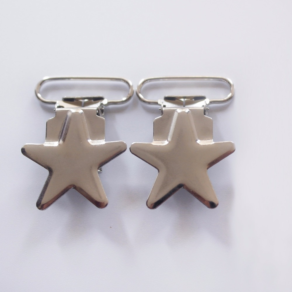 Free Shipping 100 Pcs 1'' 25mm Silver Colored Star Shaped Baby Pacifier Clips MAN \ Dummy Clip Suspender Clip Rack Plating