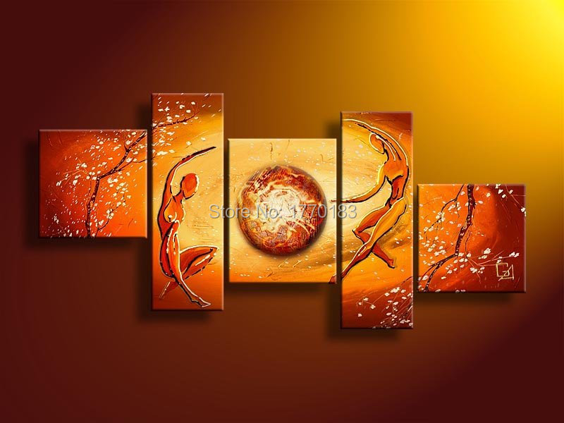 power of love! 5 panels modern abstract home decoration canvas figures oil painting yellow hand made sofa wall picture t5p97