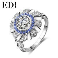 EDI 정품 화려한 모이 사 나이트 다이아몬드 보석 14 천개 585 화이트 골드 반지 천연 사파이어 럭셔리 여성 밴드 선물