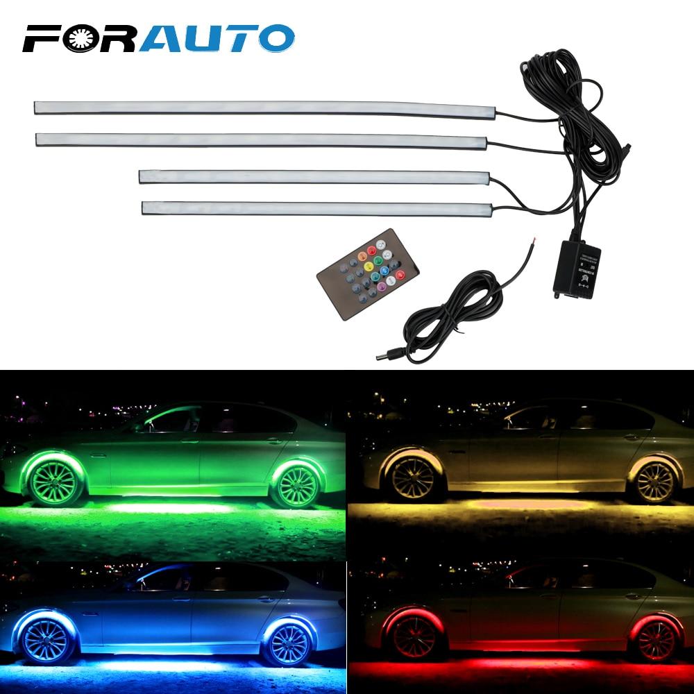 FORAUTO 4x 8 Colors Music Active Sound Control Auto LED Strip Neon Light Underbody Decorative Light Car Bottom Atmosphere Lamp|Decorative Lamp| |  - title=