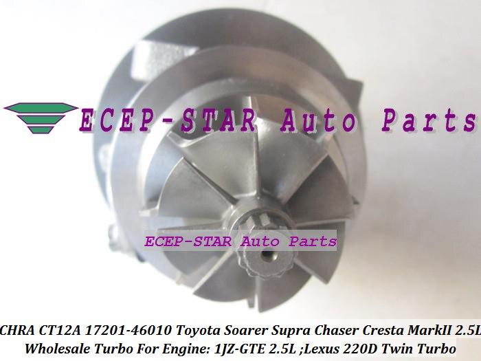 1pc Twin Turbo Cartridge CHRA CT12A 17201-46010 17208-46010 Turbocharger For TOYOTA Soarer Supra Chaser Cresta Mark II Lexus 220D 1JZ-GTE 2.5L (6)