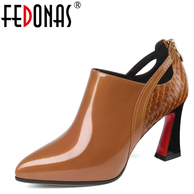 FEDONAS 1nuevas bombas básicas de cuero genuino fiesta boda zapatos de tacón alto primavera otoño Zapatos elegantes mujer bombas clásicas-in Zapatos de tacón de mujer from zapatos    1