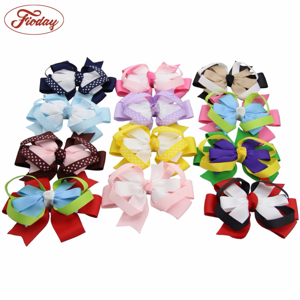 US 20 Pcs Hair Bows Girls Ribbon Lot 4Inch Alligator Clips Mix Colors Gift Set