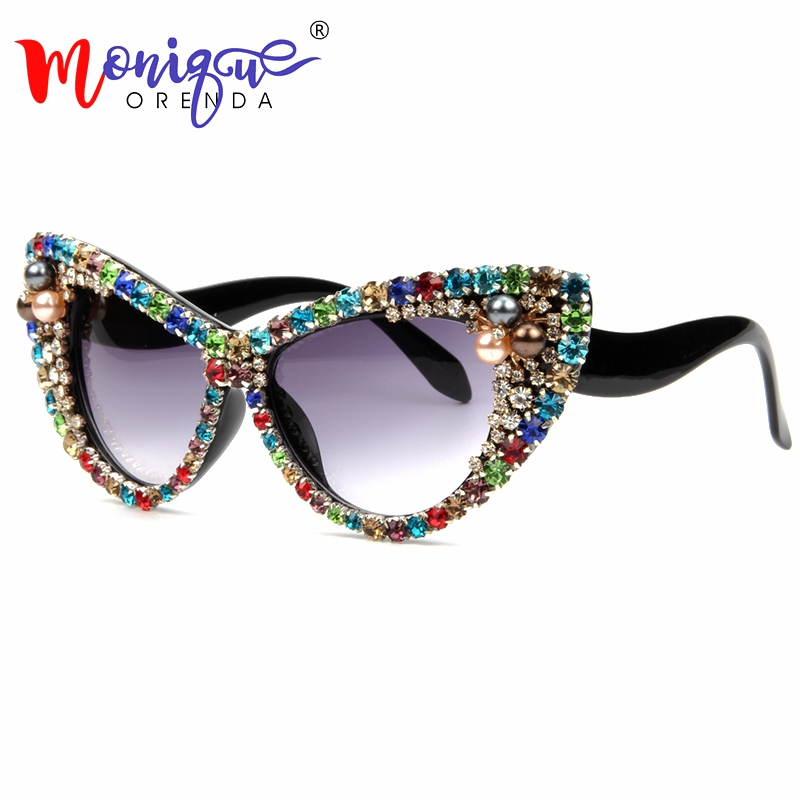 Oversized Sunglasses Oculos Rhinestone Women Luxury Cat Eyes Colorful Vintage Shades-Eyewear